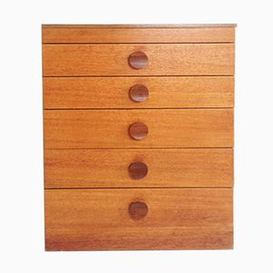 Mid-Century Teak Chest of Drawers with Lift up Mirror and Jewellery Tray, 1970s
