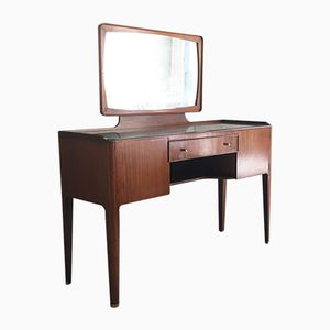 Mid-Century Glass Topped Rosewood Dressing Table with Brass Detailing from Heal's, 1960s