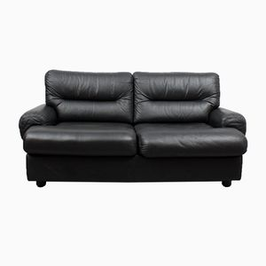 Vintage Black Leather 2-Seater Lounge Sofa, 1970s