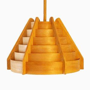 Mid-Century Holz Hängelampe von Hans Agne Jakobsson