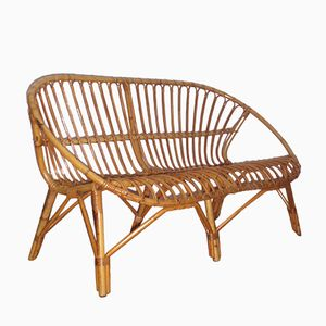Rattan Two-Seater Bench, 1960s