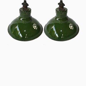 Small Green Enamel Pendant Lights, 1950s, Set of 2