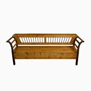 Large Softwood Biedermeier Kitchen Bench, 1830s
