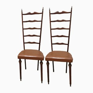 Chiavari High Back Chairs, 1950s, Set of 2
