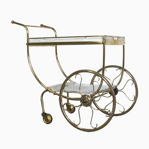 Two-Tiered Brass & Perforated Metal Serving Cart, 1950s