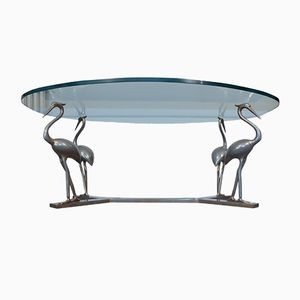 Brass U0026 Chrome Heron Coffee Table With Glass Top, 1970s