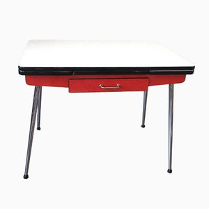 Mid-Century Red & White Formica Table from EFJI