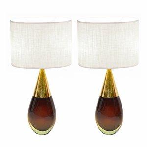 Sommerso Murano Glas Tischlampen von Seguso, 1957, 2er Set