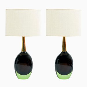 Murano Sommerso Glass Table Lamps from Seguso, 1950s, Set of 2