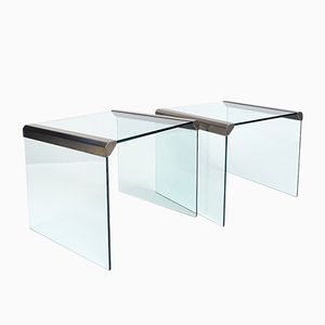 Steel and Glass Side Tables from Gallotti & Radice, 1970s, Set of 2