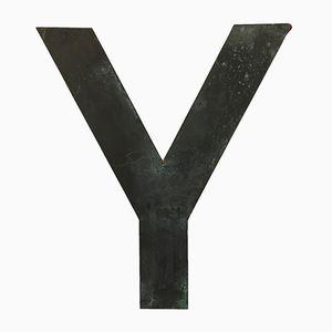 Vintage Buchstabe Y aus Kupfer, 1950er