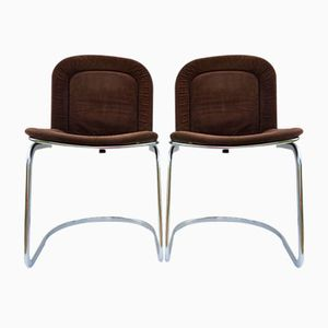 Italian Chrome Wire Cantilever Chairs, 1960s, Set of 2