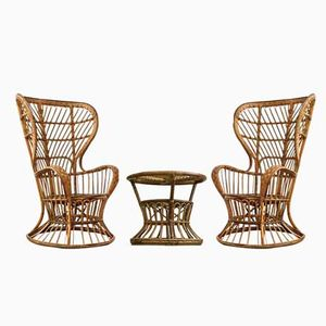 Italian Vintage Wicker Garden Chairs and Coffee Table