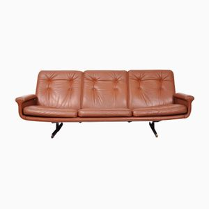 Mid-Century Modern Leather Sofa with Shaker Rosewood Legs, 1960s