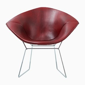 Diamond Chair in Faux Leather by Harry Bertoia for Knoll, 1970s