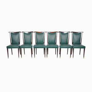 Italian Dining Chairs with Green Leather by Paolo Buffa, Set of 6