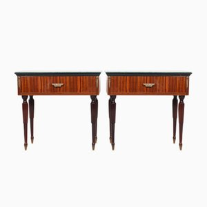 Mid-Century Italian Brass, Murano Glass, & Rosewood Nightstands, Set of 2