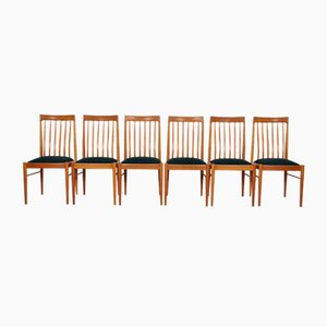 Green Danish Teak Dining Chairs By H. W. Klein For Bramin, Set Of 6