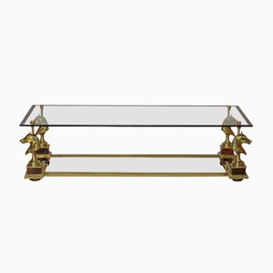 French Horse Head Glass Coffee Table from Maison Charles