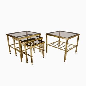 French Neoclassical Brass Side Tables, 1970s, Set of 4