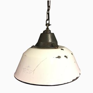 Industrial White Enamel Gray Cast Iron Factory Pendant Light