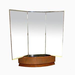 Art Deco Mahogany & Brass Mirror, 1930s