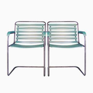 Vintage Swiss Garden Cantilever Chairs from Basler Eisenmöbelfabrik, Set of 2