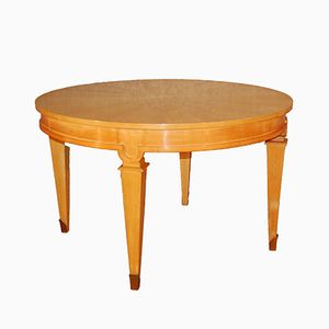 Round Light Wooden Extendable Art Deco Table, 1940s