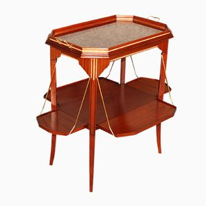 Art Deco Mahogany Tea Table with Mother-of-Pearl Inlay, 1930s