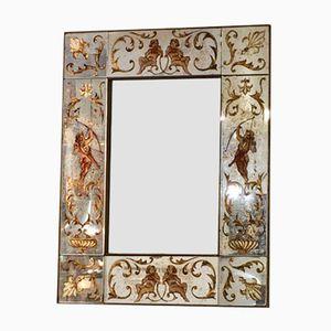 Verre Églomisé Mirror with Cupid Motifs, 1960s
