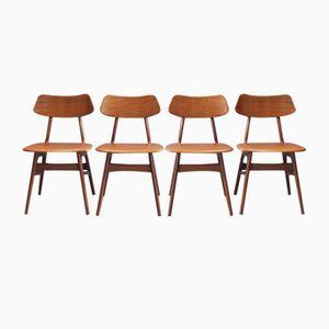 Teak Esszimmerstühle von Louis van Teeffelen für Wébé, 1950er, 4er Set