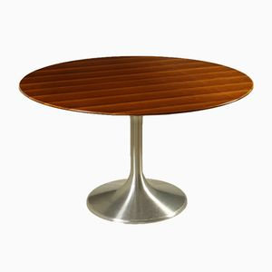 Walnut Veneer and Aluminum Table by Beppe Vida for Ny Form, 1960s