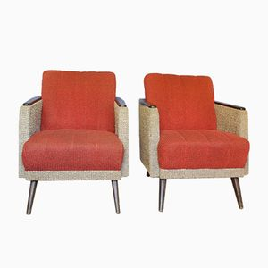 Red & Grey Cocktail Chairs, 1950s, Set of 2