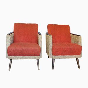 Sessel in Rot & Grau, 1950er, 2er Set