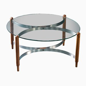 Mid-Century Teak, Steel and Glass Coffee Table