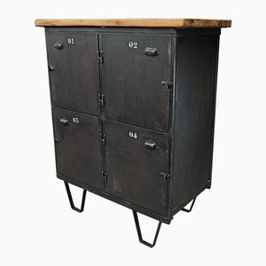 Industrial Four-Door Cabinet with Oak Top, 1950s