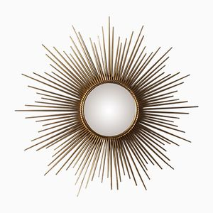 Large French Gilt Sunburst Starburst Wall Mirror from Chaty Vallauris, 1950s