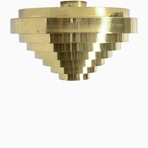 Brass Ceiling Lamp by Jules Wabbes, 1969