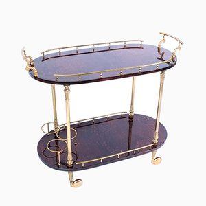 Italian Brass & Maroon Parchment Bar Cart by Aldo Tura, 1950s