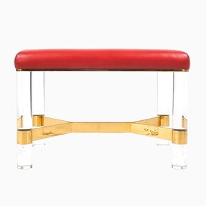 Leather, Brass & Lucite Bench by Karl Springer, 1970