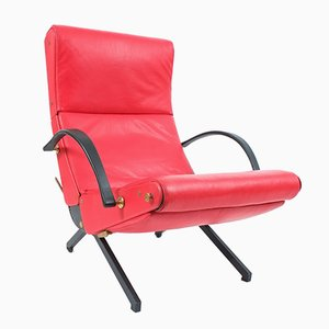 P40 Relaxing System Leather Armchair by Osvaldo Borsani for Tecno, 1950s