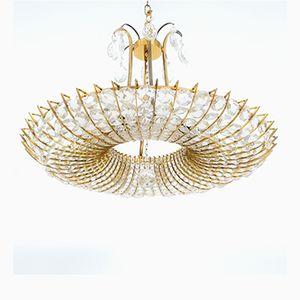 Large Brass & Glass Chandelier, 1960s