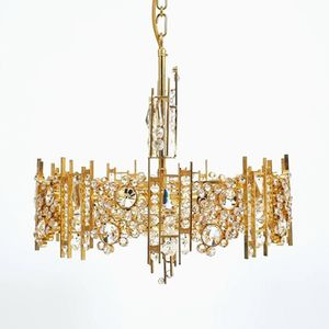 Gilt Brass & Crystal Glass Chandelier from Palwa, 1960s