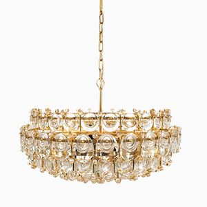 Large Gilt Brass & Glass Chandelier from Palwa, 1960s