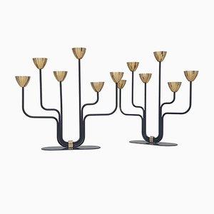Kerzenständer aus Messing & Metall von Gunnar Ander für Ystad-Metall, 1950er, 2er Set