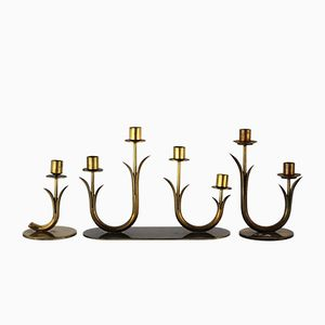 Brass Candlesticks by Gunnar Ander for Ystad-Metall, 1950s, Set of 3