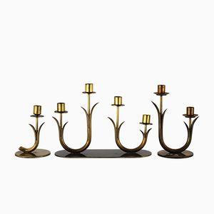 Messing Kerzenständer von Gunnar Ander für Ystad-Metall, 1950er, 3er Set