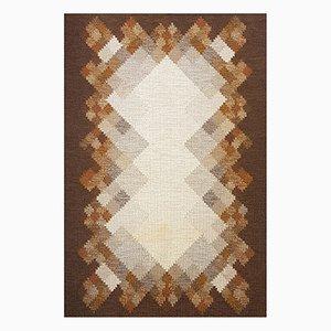 Swedish Brown Flat Weave Rölakan Carpet by Brita Svensson