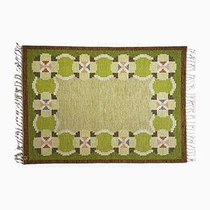Vintage Swedish Green Flat Weave Rölakan Carpet by Ingegerd Silow