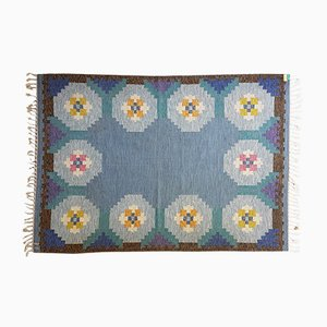 Tappeto Rölakan vintage a tessitura piatta blu, Svezia